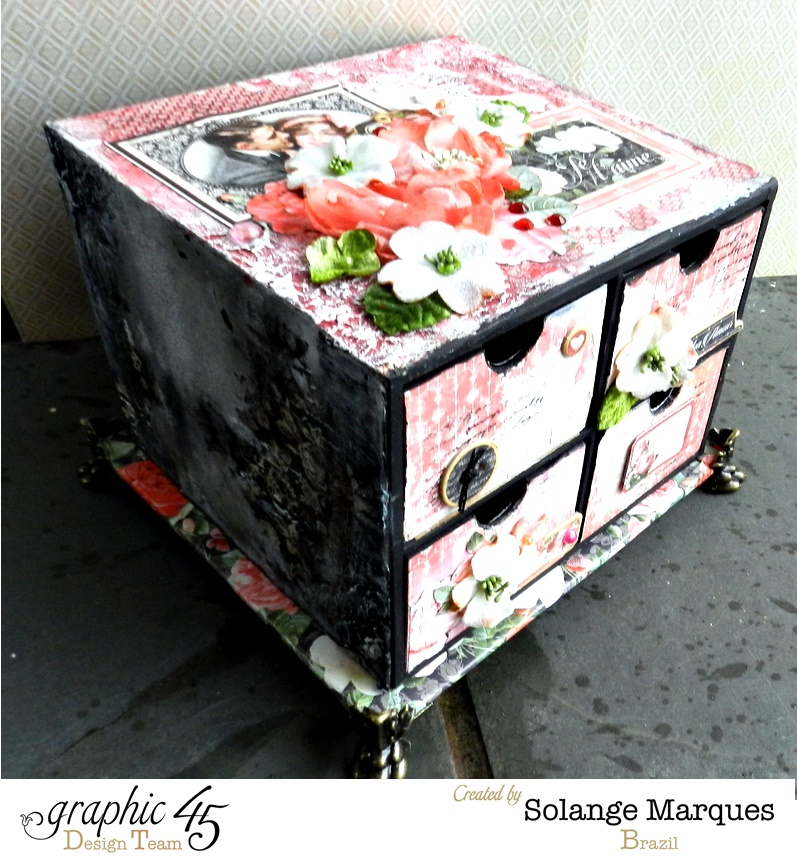 Mini drawer by Solange Marques using Graphic 45 Mon Amour collection and Petaloo flowers 4