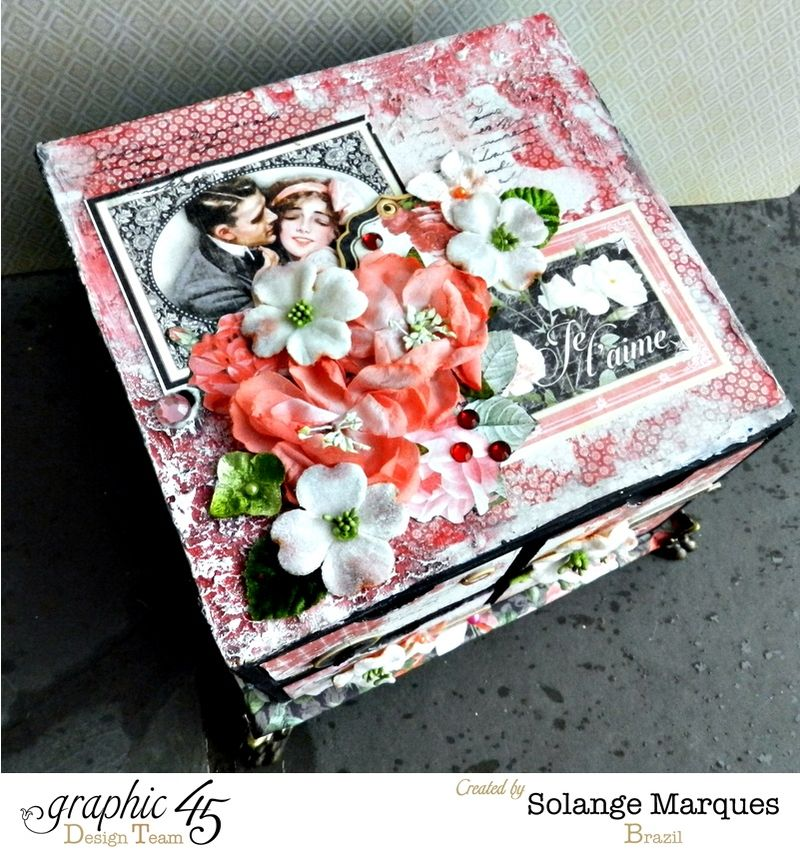 Mini drawer by Solange Marques using Graphic 45 Mon Amour collection and Petaloo flowers 3