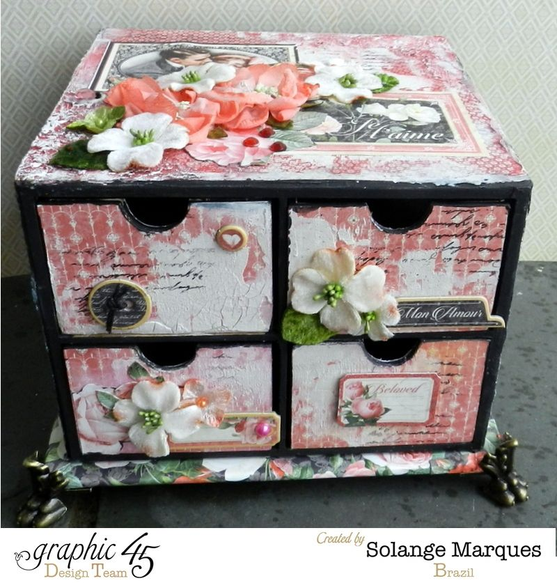 Mini drawer by Solange Marques using Graphic 45 Mon Amour collection and Petaloo flowers 5