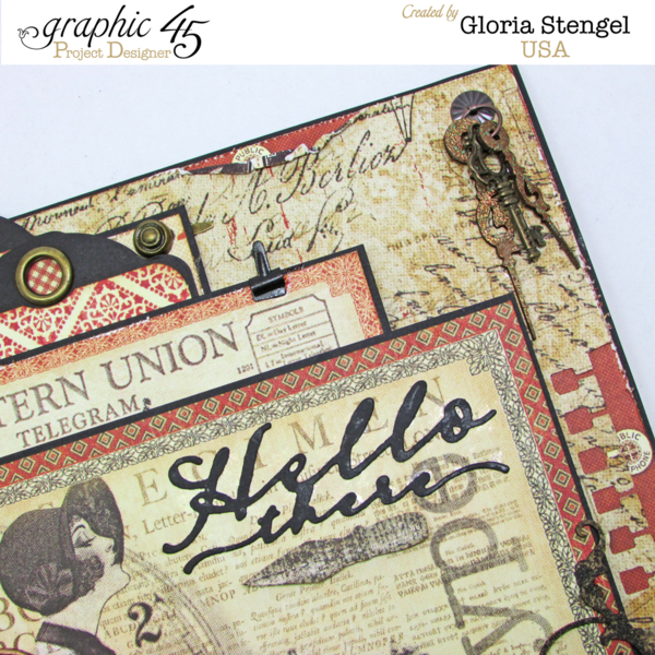 Beautiful Communique card by Gloria Stengel. What glorious layers! #graphic45