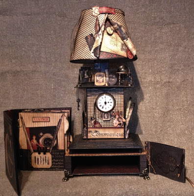 SCRAPBOOKING- GRAPHIC 45-MINI ALBUM-MIXED MEDIA-ALBUM- COMMUNIQUE-PAPER- LAMP-CLOCK-VINTAGE- CREATING-NEW- G45- IDEA-ANNESPAPERCREATIONS-CRAFT-ANNE ROSTAD-1