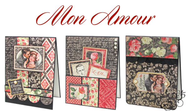Try these Mon Amour cards with a free project sheet. Just in time for Valentine's Day #graphic45
