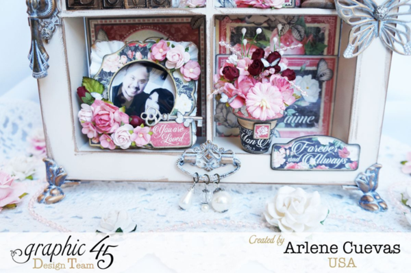 Beautiful altered Window Shadowbox Frame by Arlene Cuevas + Tutorial #graphic45