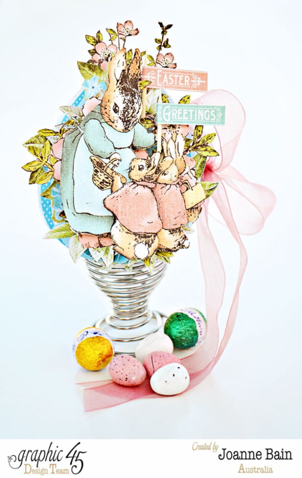 A great Easter egg card + tutorial by Joanne using Once Upon a Springtime and Sweet Sentiments #graphic45