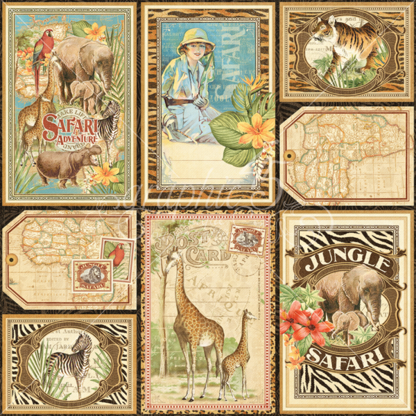 Vertical Safari Adventure Journaling & Ephemera Cards #graphic45