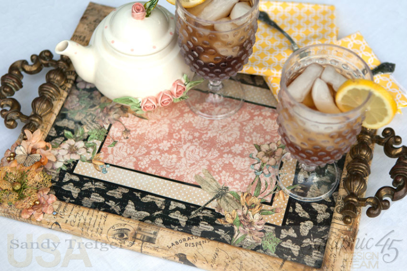 Upcycled Picture Frame Tea Tray, Staples DIY Craft Paper Curiosity Collage Butterflies, Tutorial by Sandy Trefger, Product by Graphic 45, Photo 2