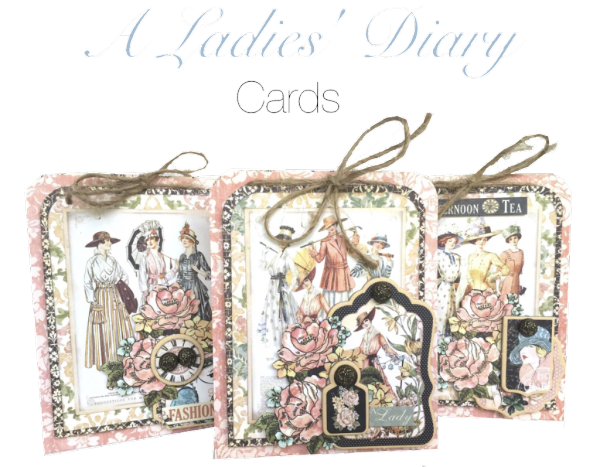 Three A Ladies Diary Cards with printable step by step tutorial.  By Maira Cole