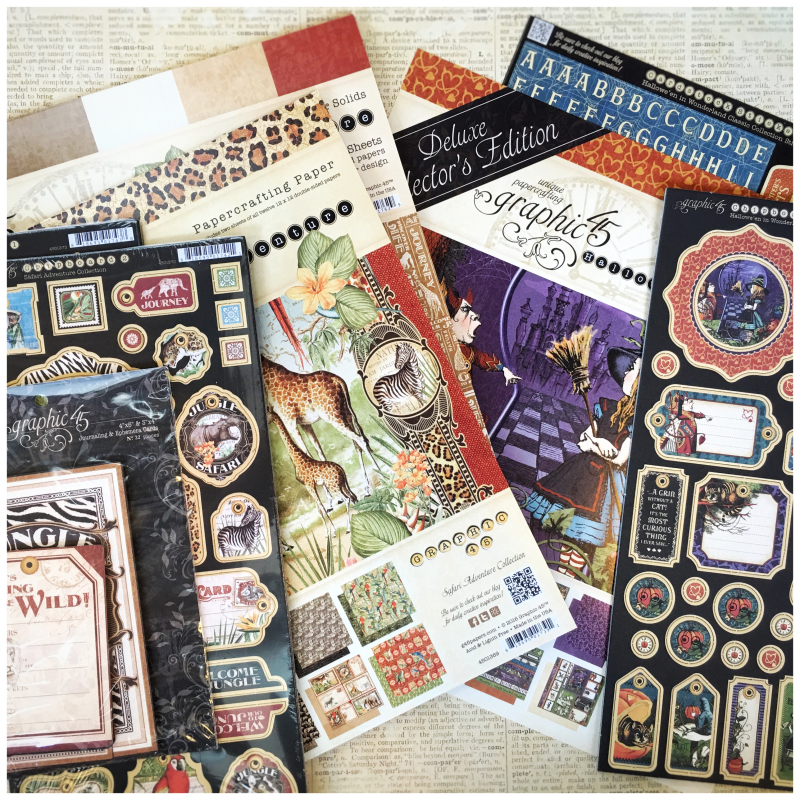 (1) Safari Adventure 12x12s, Both Chipboard, Ephemera, Hallowe'en in Wonderland DCE