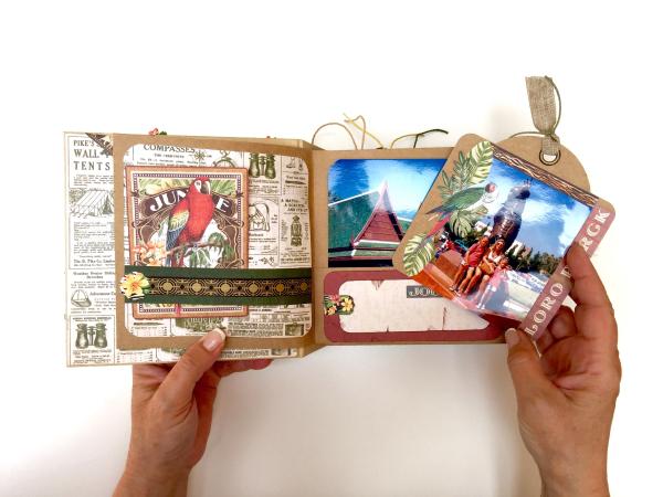 Square Tag&Pocket Travel Album Safari Adventure Tutorial by Marina Blaukitchen Product by Graphic 45 photo 11