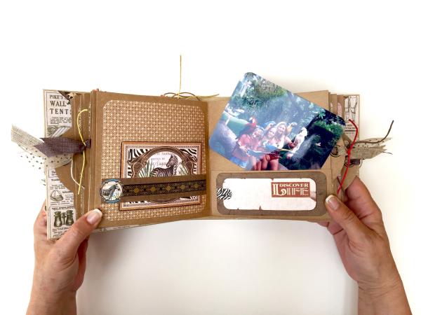 Square Tag&Pocket Travel Album Safari Adventure Tutorial by Marina Blaukitchen Product by Graphic 45 photo 21