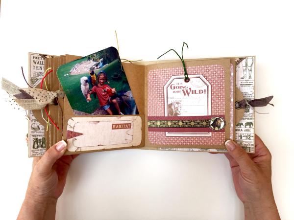 Square Tag&Pocket Travel Album Safari Adventure Tutorial by Marina Blaukitchen Product by Graphic 45 photo 24
