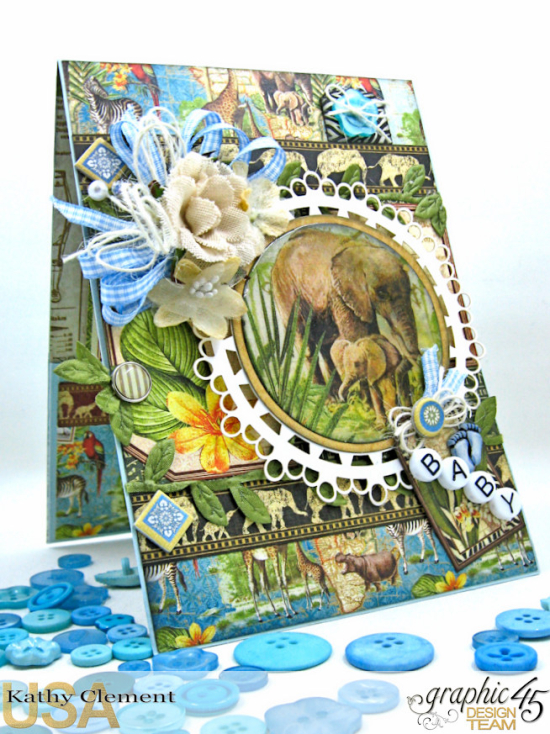 Welcome to our Jungle Baby Boy Card, Safari Adventure, by Kathy Clement, Product by Graphic 45 Photo 5
