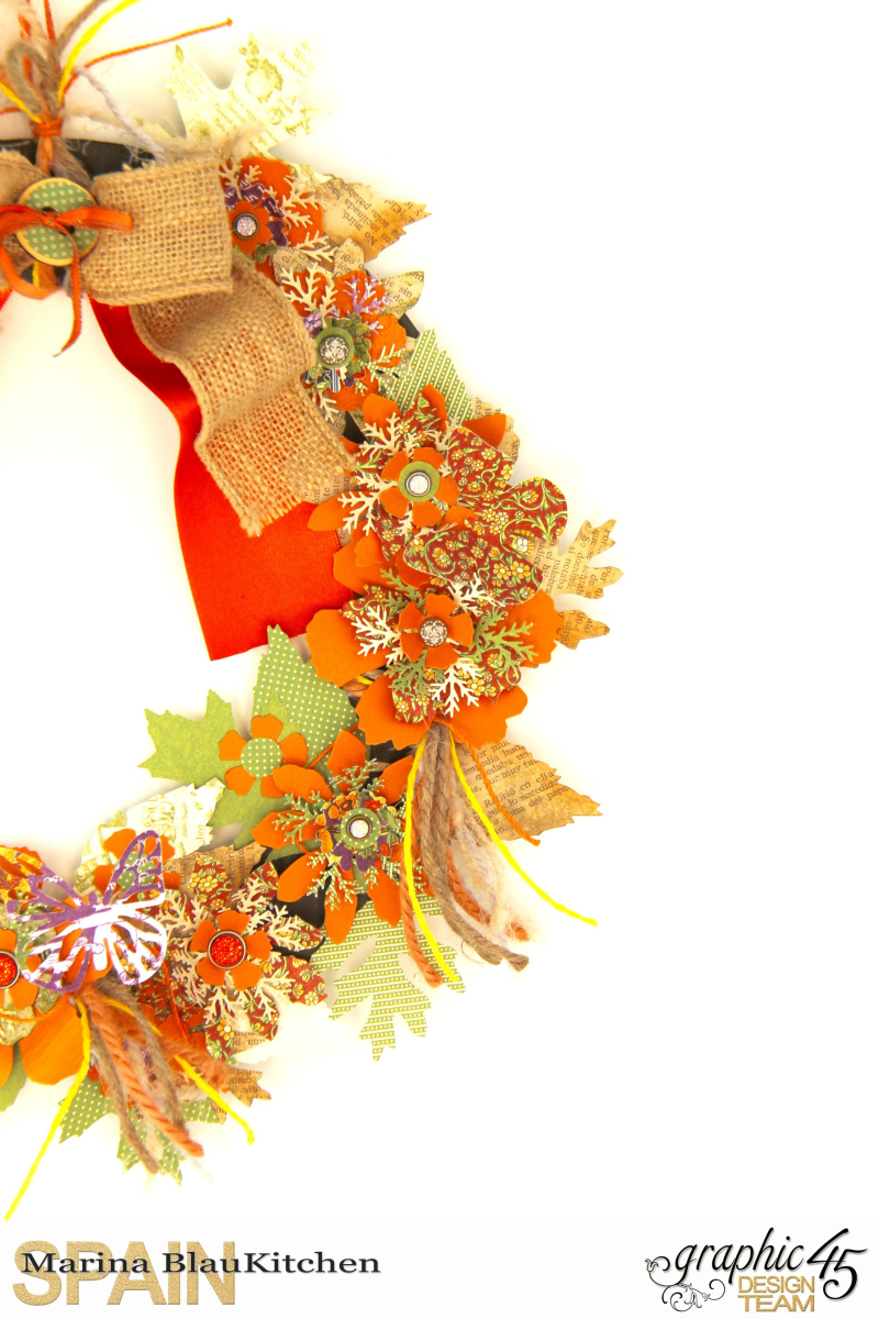 Fall Wreath Children's Hour and others Tutorial by Marina Blaukitchen Product by Graphic 45 photo 3