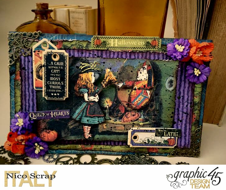 Look at the mirror! , hallowe'en in wonderland collection, card by Nico Scrap, Product by Graphic 45, Photo 3