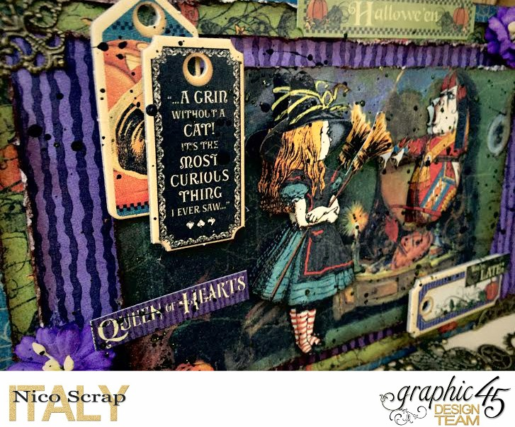 Look at the mirror! , hallowe'en in wonderland collection, card by Nico Scrap, Product by Graphic 45, Photo 2