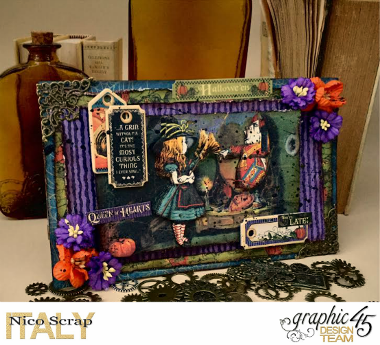 Look at the mirror! , hallowe'en in wonderland collection, card by Nico Scrap, Product by Graphic 45, Photo 1