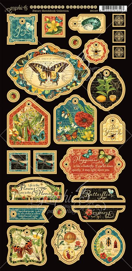 Graphic 45 Nature Sketchbook Decorative Chipboard