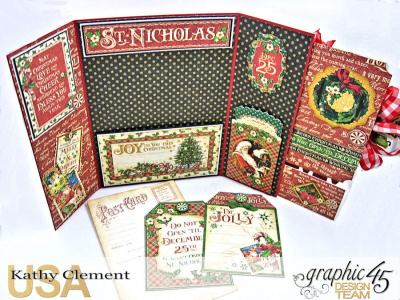 Very Merry Christmas Card Tutorial, Saint Nicholas, by Kathy Clement, Product by Graphic 45, Photo 13
