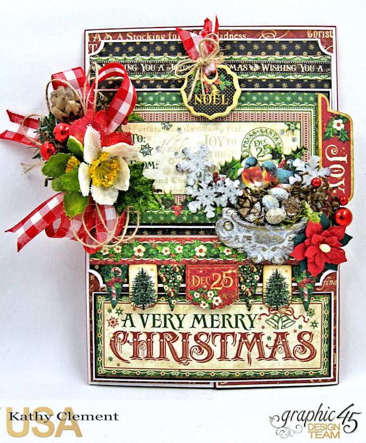 Very Merry Christmas Card Tutorial, Saint Nicholas, by Kathy Clement, Product by Graphic 45, Photo 15