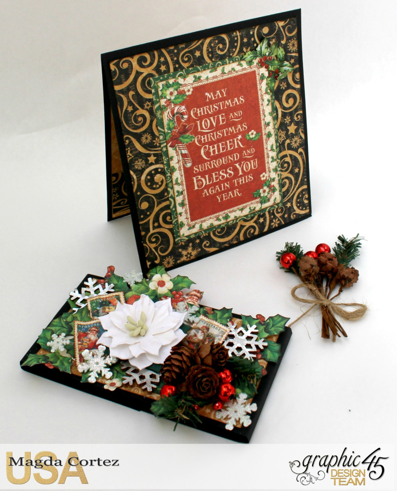 Christmas Pop Up Card-By Magda Cortez-Product by Graphic 45 - Project with tutorial -05 of 10