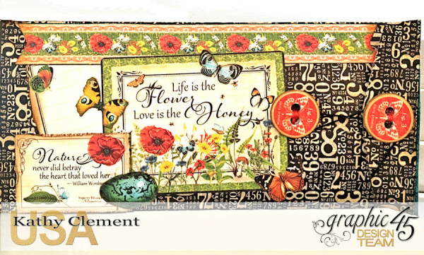 Love Sweet Love Policy Envelope Tutorial, Nature's Sketchbook, by Kathy Clement, Product by Graphic 45, Photo 7