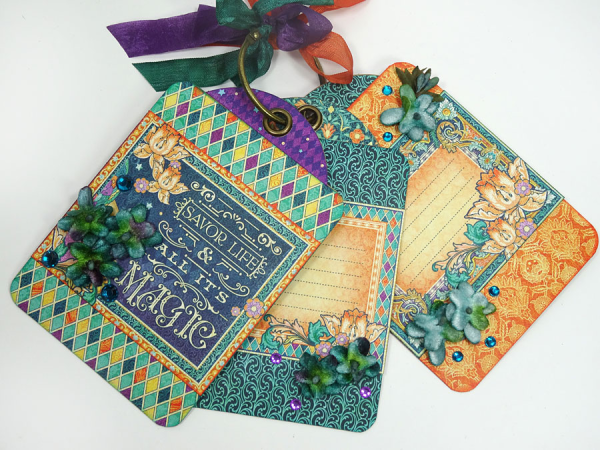 Midnight Masquerade card and tag station by Annette!
