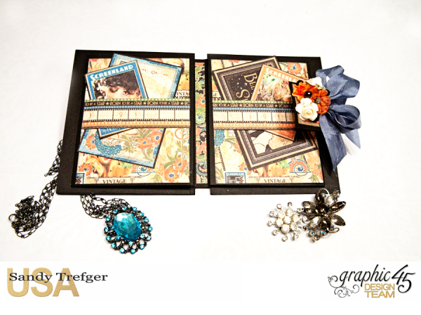 Passport Mini Album  Vintage Hollywood  Tutorial by Sandy Trefger  Product by Graphic 45  Photo 001