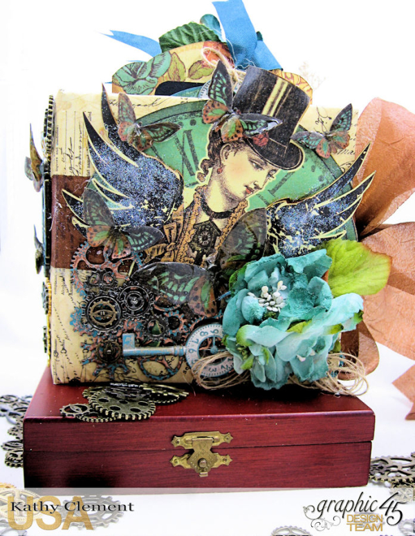 Mixed Media Steampunk Tag Album Tutorial  Steampunk Debutante  by Kathy Clement Product by Graphic 45  Photo 35