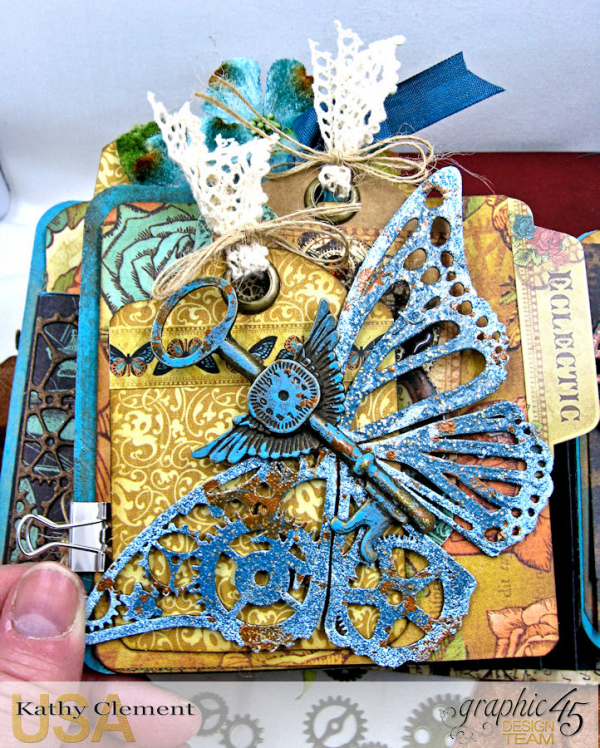 Mixed Media Steampunk Tag Album Tutorial  Steampunk Debutante  by Kathy Clement Product by Graphic 45  Photo 18