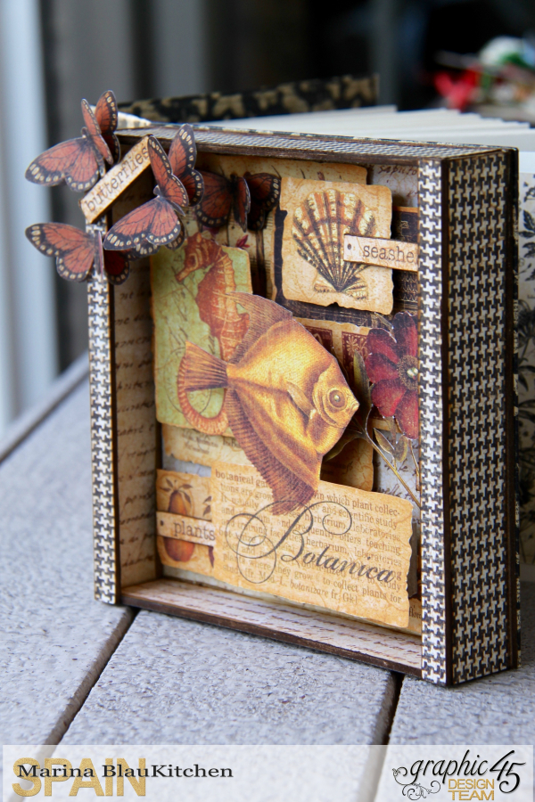 Shadow box album Botanicabella Tutorial by Marina Blaukitchen Product by Graphic 45 photo 2