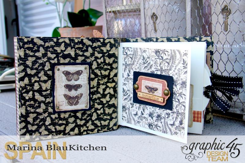 Shadow box album Botanicabella Tutorial by Marina Blaukitchen Product by Graphic 45 photo 7
