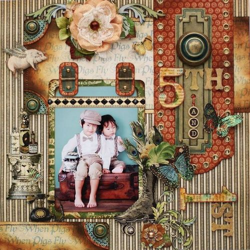 Olde Curiosity Shoppe  Graphic 45  Yuka Hino  Layout  5th and 1st  Birthday  Top 8