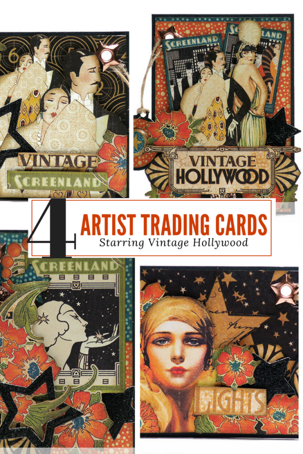 Four artist trading cards  vintage hollywood  graphic 45  Alexandra Morein Cover