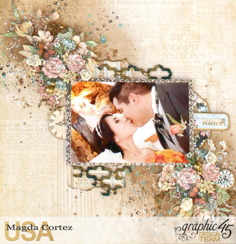 Picture Perfect-Double Layout  A Ladies' Diary  By Magda Cortez  Product By Graphic 45 Photo 08 of 08 with Tutorial