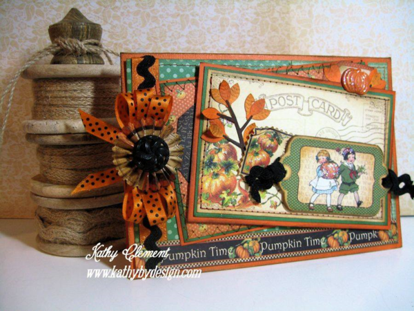 "Kathy Clement ""Pumpkin Time"" Graphic 45 Card"