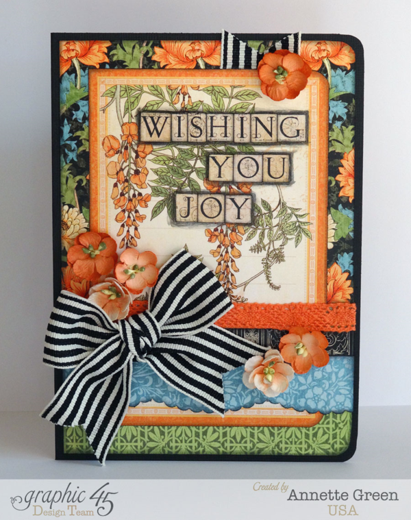 Artisan Style Graphic 45 card by Annette Green. Learn how to add depth to your text on your cards with a great Snapguide Tutorial!