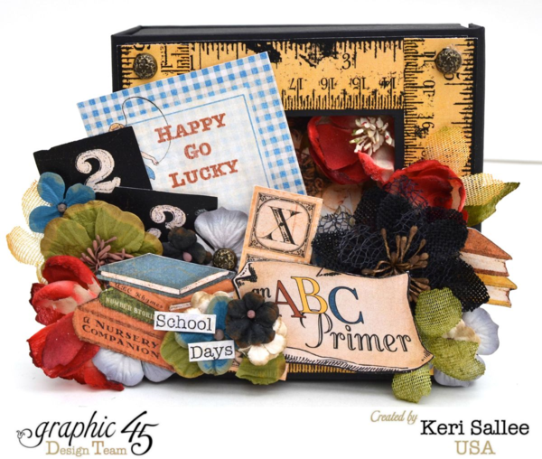 An ABC Primer Mixed Media Box by the wonderful Keri! Inspired by school days of yore #graphic45