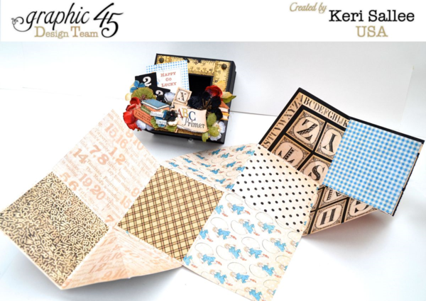 A dragon fold mini album is a grand surprise in this gorgeous An ABC Primer mixed media box by Keri #graphic45