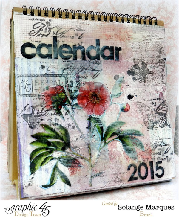 What a cover! An amazing calendar easel album with Time to Flourish by Solange Marques #graphic45