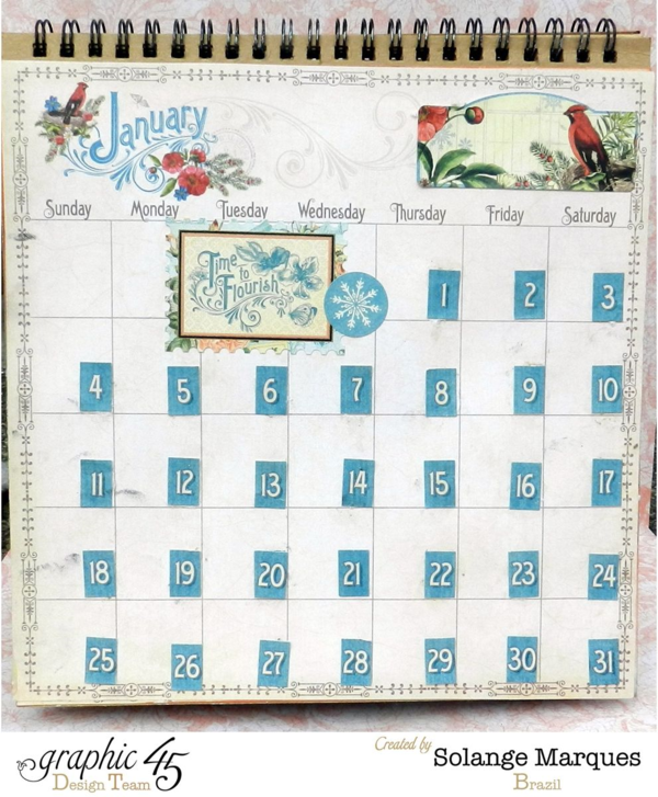2015 calendar by Solange Marques- Graphic 45 Time to Flourish collection - January page