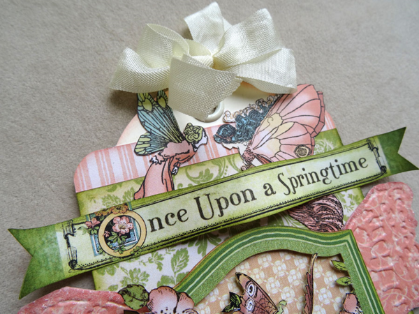 See the beautiful fussy cutting on this tag by Annette using Once Upon a Springtime #graphic45