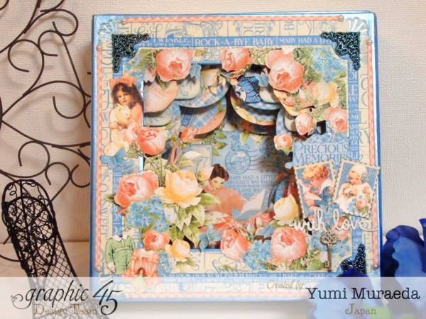 Gorgeous Precious Memories shadowbox with beautiful hearts and cards inside by Yumi! #graphic45