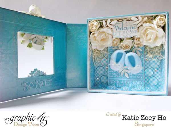 Beautiful interior of Katie's gorgeous Mixed Media Box using Precious Memories #graphic45