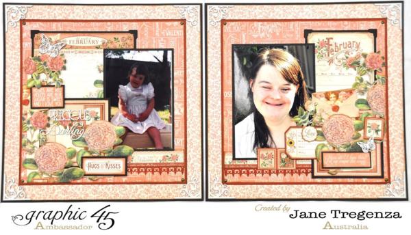 February Layout by Jane Tregenza using Time to Flourish #graphic45