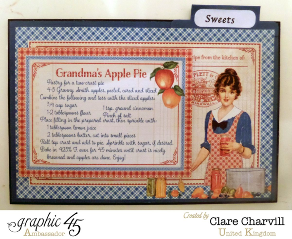 """Sweets"" card in Clare's Home Sweet Home recipe box #graphic45"