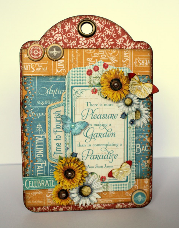 "Learn how to make this ""Pleasure"" Autumn Time to Flourish tag with a tutorial from Romy #graphic45"