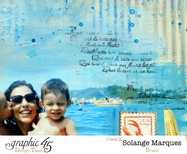 Gorgeous use of stamps on this By the Sea layout by Solange #graphic45