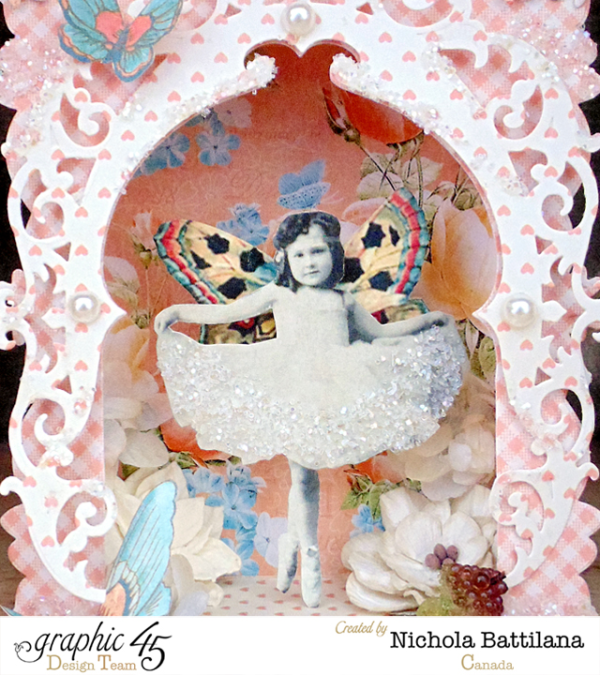 This is a gorgeous Fairy Tale stage by Nichola using Precious Memories and Sweet Sentiments and beautiful Spellbinders dies - learn how to make it yourself with a great tutorial! #graphic45