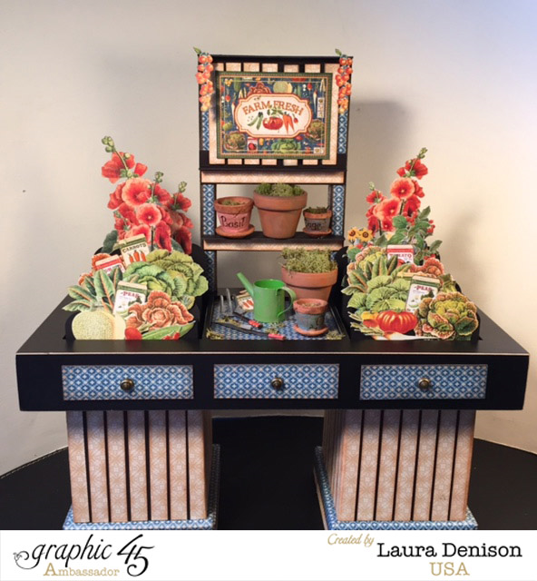Learn how to make this gorgeous Home Sweet Home potting bench with an awesome PDF tutorial from Laura Denison! #graphic45
