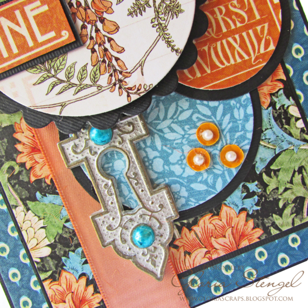 Gorgeous details on Gloria's Artisan Style card - Ornate Metal Keyhole and beautiful layers #graphic45